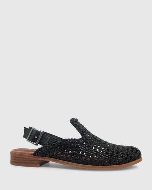 Habor Black PU Weave Slingback Flat. & Wittner & Wittner Shoes