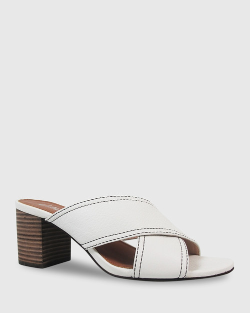 Nolan White Leather Block Heel Mule