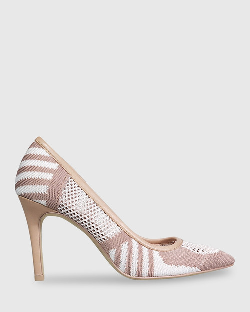 Harman Nude & White Knit Pointed Toe Stiletto Heel