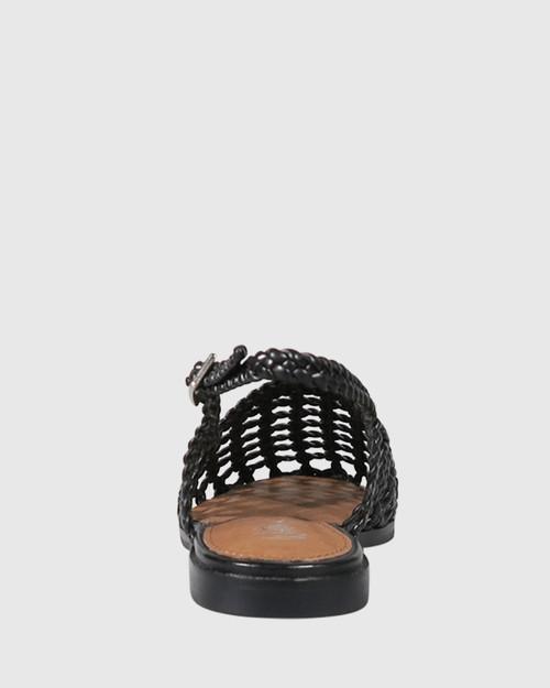 Amora Black Weave Closed Toe Flat. & Wittner & Wittner Shoes