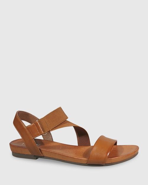 Lyla Cognac Leather & Elastic Flat Sandal. & Wittner & Wittner Shoes