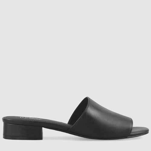 Bryson Black Leather Open Toe Slide. & Wittner & Wittner Shoes