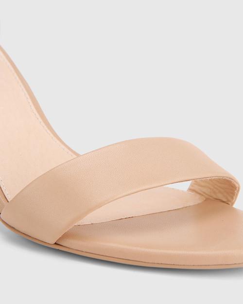 Imina Nude Leather Ankle Strap Stiletto Heel Sandal. & Wittner & Wittner Shoes