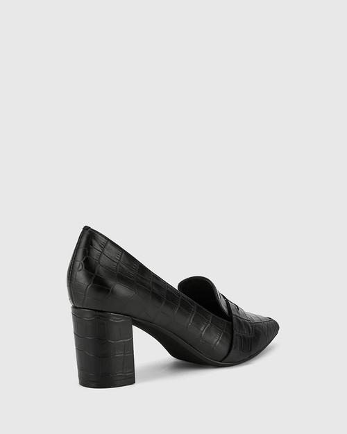 Donner Black Crocodile Print Leather Block Heel Pointed Pump