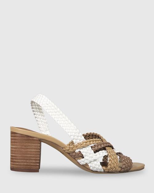 Narina Multi Weave Slingback Block Heel Sandal. & Wittner & Wittner Shoes