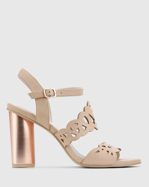 Reanna Nude Leather Perforated Block Heeled Sandal