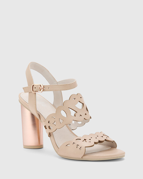 Reanna Nude Leather Perforated Block Heeled Sandal.
