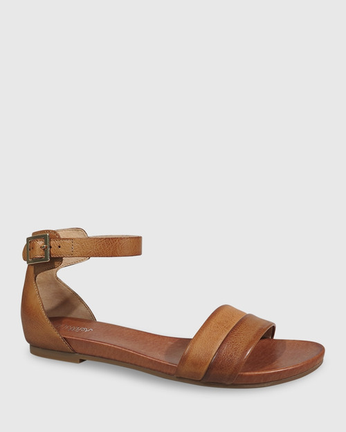 Lory Coconut Brown Leather Open Toe Flat Sandal. & Wittner & Wittner Shoes