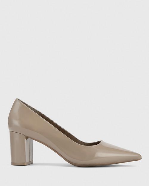 Dalena Stone Patent Pointed Toe Block Mid Heel.