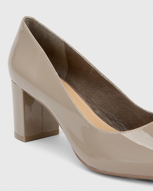 Dalena Stone Patent Pointed Toe Block Mid Heel. & Wittner & Wittner Shoes