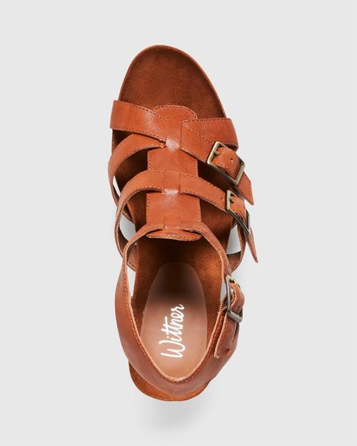 Cohen Cognac Leather Cone Heel Sandal. & Wittner & Wittner Shoes