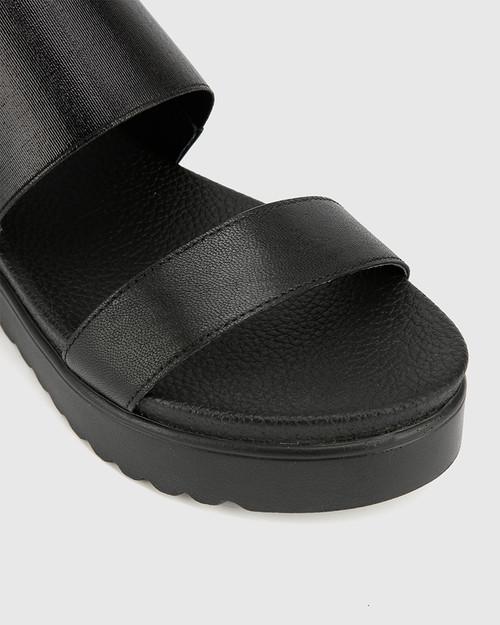 Grazia Black Leather & Elastic Flatform Sandal