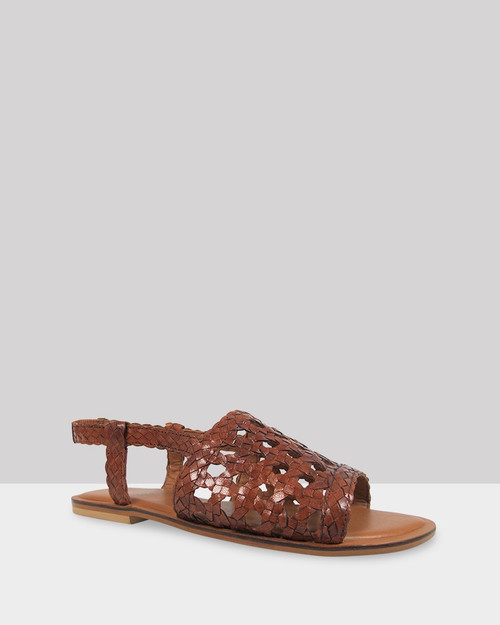 Izar Cognac Weave Flat Sandal.