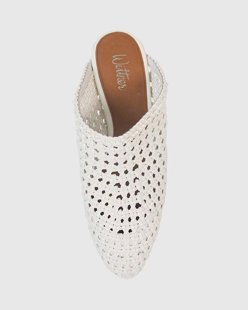 Kelsey White Woven Pointed Toe Block Heel Mule. & Wittner & Wittner Shoes