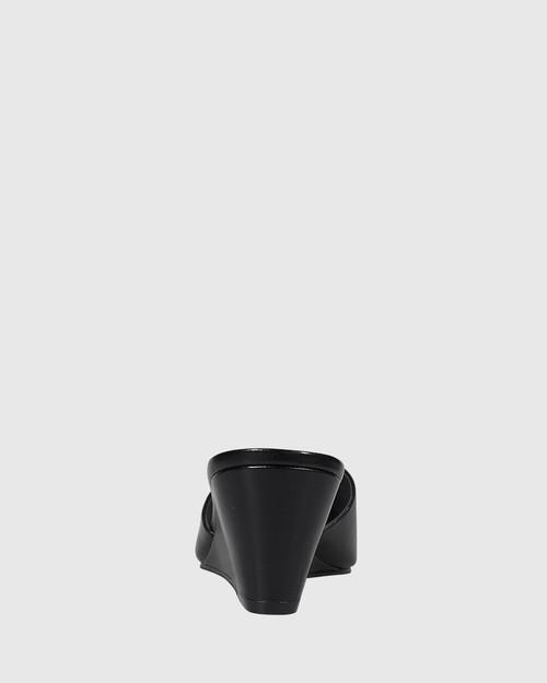Adair Black Leather Open Toe Wedge. & Wittner & Wittner Shoes