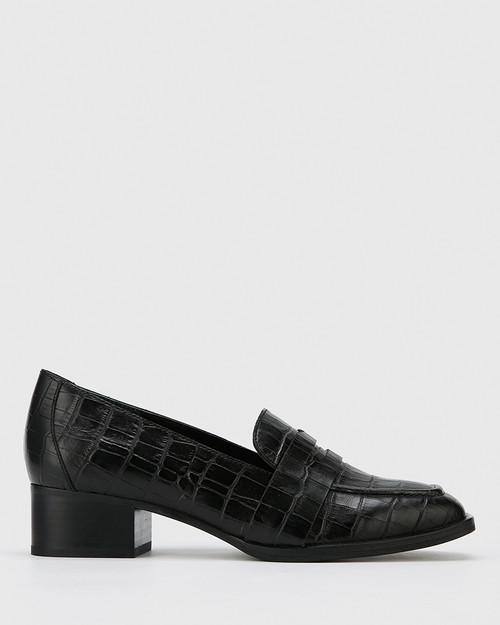 Fentis Black Croc-Embossed Leather Square Toe Loafer & Wittner & Wittner Shoes
