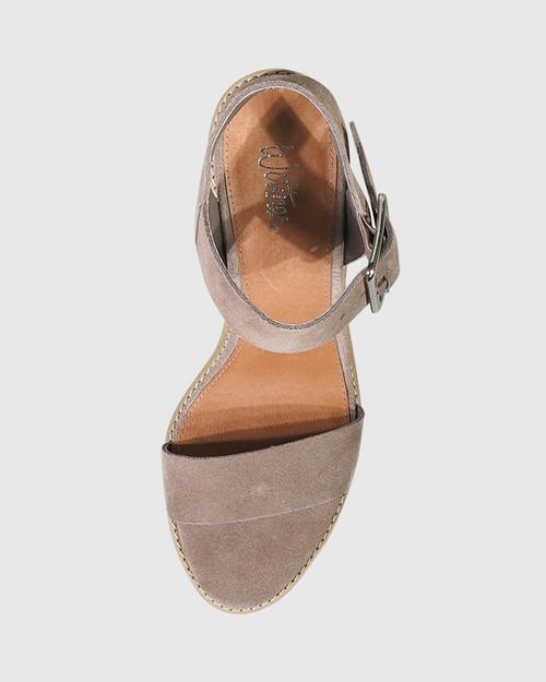 Fantine Stone Suede Block Heel Sandal. & Wittner & Wittner Shoes