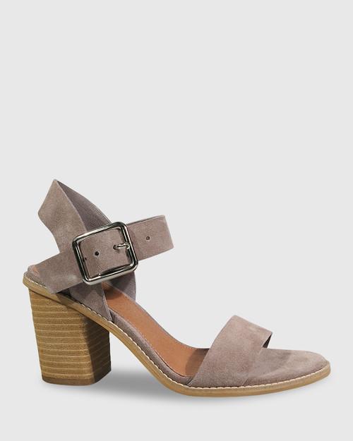 Fantine Stone Suede Block Heel Sandal.