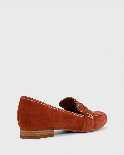 Abelon Rust Suede Stitched Flat Penny Loafer.