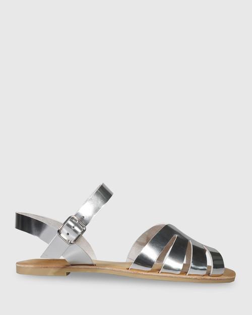 Fissa Silver Leather Open Toe Flat Sandal. & Wittner & Wittner Shoes