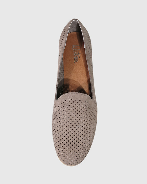 Alvaro Stone Suede Perforated Pointed Toe Loafer. & Wittner & Wittner Shoes