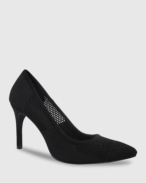 Harman Black Knit Pointed Toe Stiletto Heel.