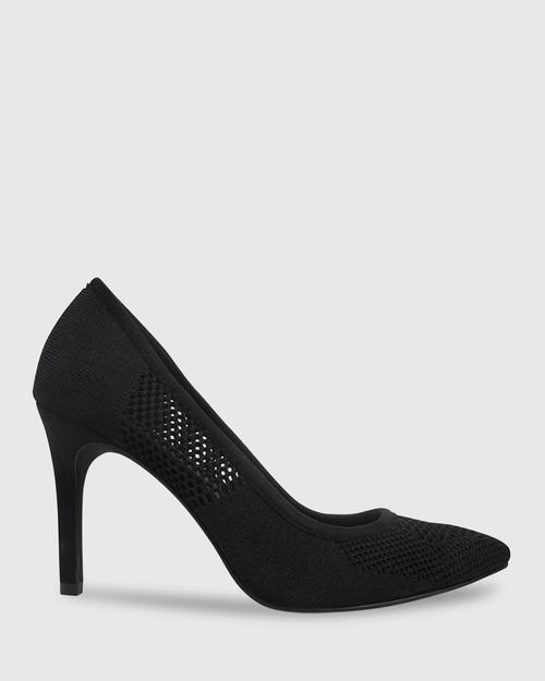 Harman Black Knit Pointed Toe Stiletto Heel.