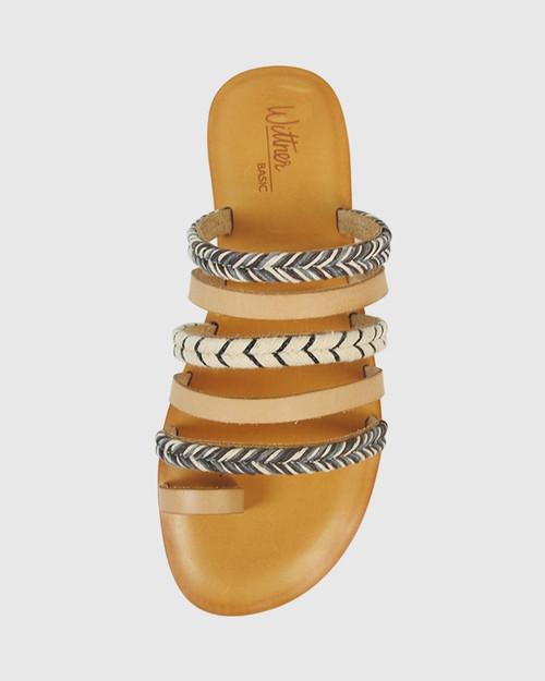 Fabiola Natural Leather Flat Sandal. & Wittner & Wittner Shoes