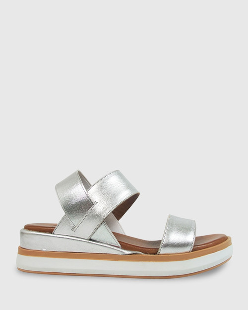 Kaylin Silver Elastic Leather Wedge Sandal. & Wittner & Wittner Shoes