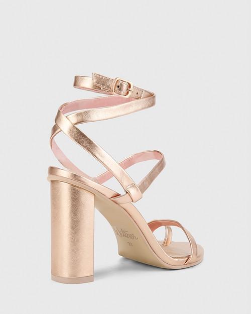 Regeena Rose Gold Metalic Leather Block Heel Sandal. & Wittner & Wittner Shoes