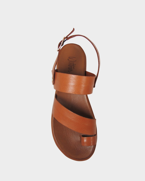 Kerr Brown Leather Open Toe Platform Sandal.