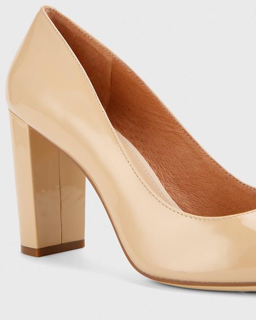 Hether Nude Patent Pointed Toe Block Heel. & Wittner & Wittner Shoes