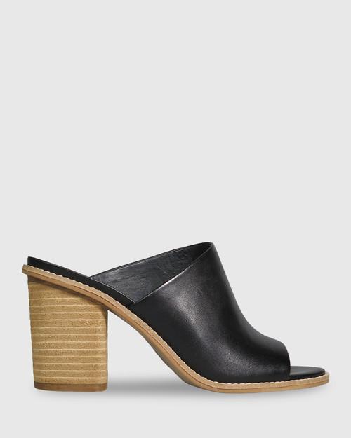 Fonta Black Leather Open Toe Block Heel