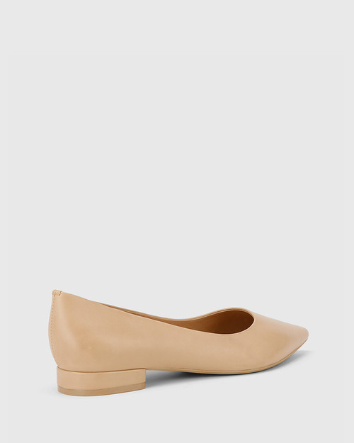 Marina Nude Leather Pointed Toe Slip On Flat. & Wittner & Wittner Shoes