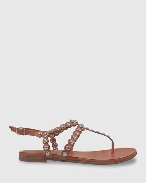 Kezia Coconut Leather Silver Stud Flat Sandal. & Wittner & Wittner Shoes