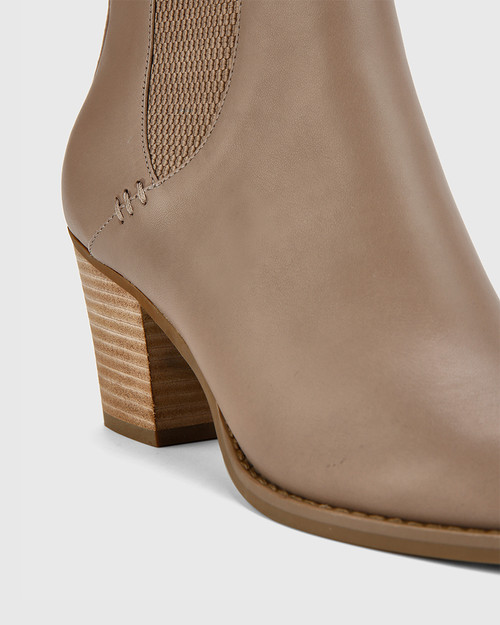Kessie Stone Leather Round Toe Stack Heel Ankle Boot.