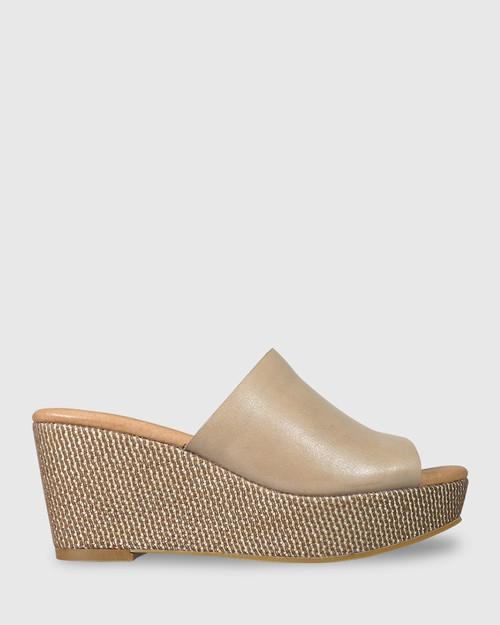 Henrietta Nude Leather Woven Detail Wedge. & Wittner & Wittner Shoes