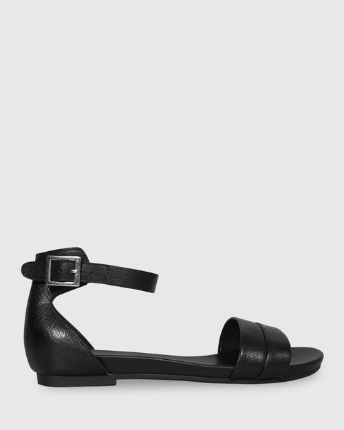 Lory Black Leather Open Toe Flat Sandal.