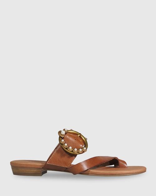 Sylvia Cognac Leather Gold Buckle Detail Flat Slide. & Wittner & Wittner Shoes