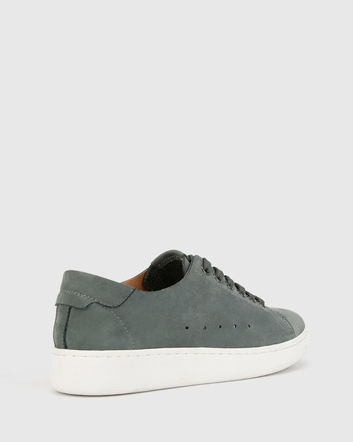 Graphite Grey Nubuck Leather Lace Up Sneaker