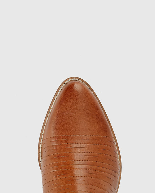 Jaylee Tan Leather Almond Toe Block Heel Ankle Boot.
