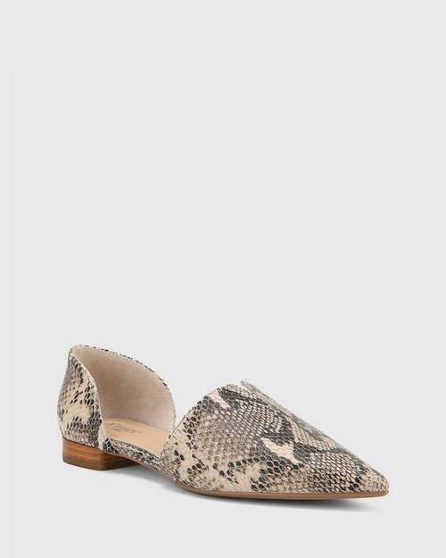 Midori Ecru Leather & Mini Snake Print Pointed Toe Flat.