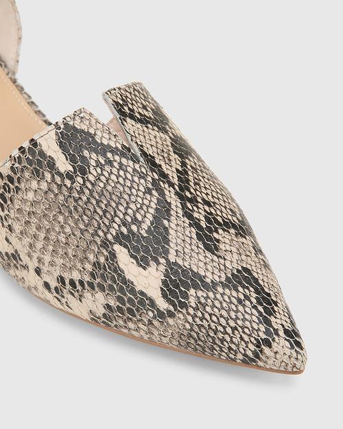 Midori Ecru Leather & Mini Snake Print Pointed Toe Flat. & Wittner & Wittner Shoes