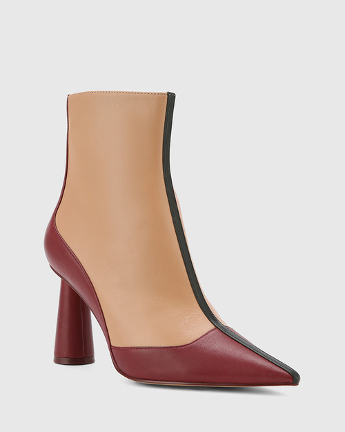 Quadrelle Red, Desert Beige & Black Leather Pointed Toe Cone Heel Ankle Boot.