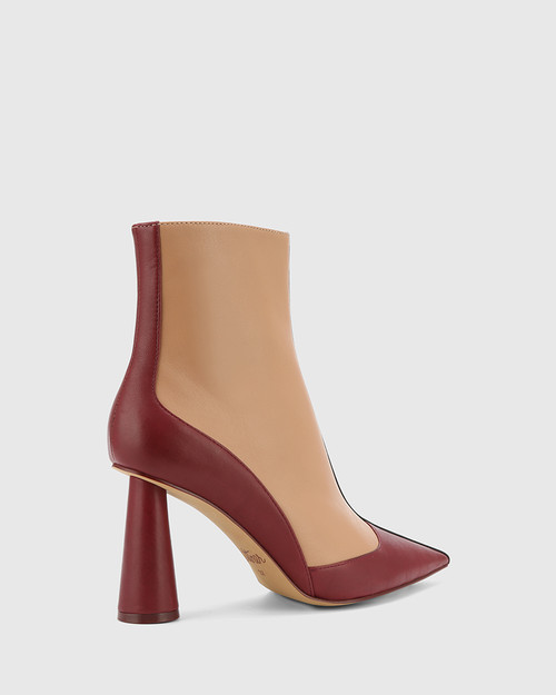 Quadrelle Red, Desert Beige & Black Leather Pointed Toe Cone Heel Ankle Boot. & Wittner & Wittner Shoes