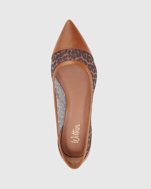 Marta Dark Cognac Leopard Print Leather & Mesh Pointed Toe Flat. & Wittner & Wittner Shoes