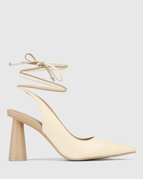 Queena Ecru & Buttercream Leather Ankle Strap Cone Heel Pump. & Wittner & Wittner Shoes