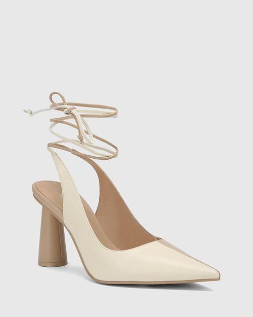 Queena Ecru & Buttercream Leather Ankle Strap Cone Heel Pump.