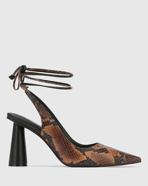 Queena Black & Brown Leather Ankle Strap Cone Heel Pump. & Wittner & Wittner Shoes