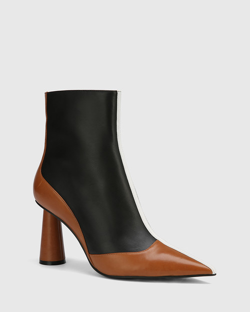 Quadrelle Black, Brandy & White Leather Pointed Toe Cone Heel Ankle Boot.